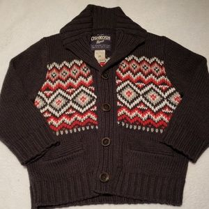Boys Collared Button Up Sweater